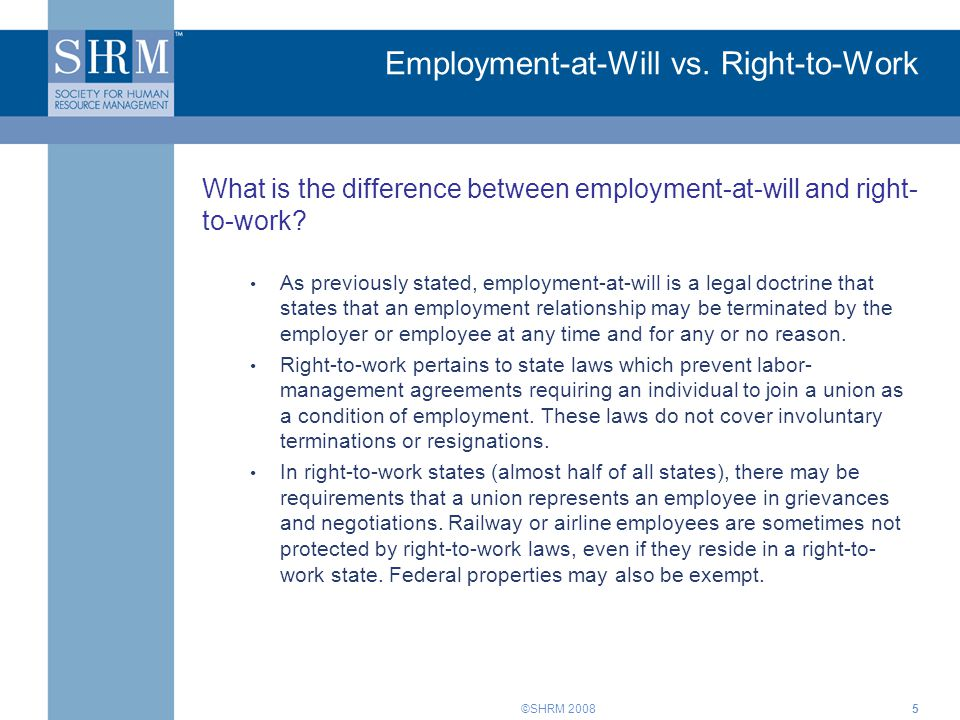 Employment-at-Will vs. Right-to-Work