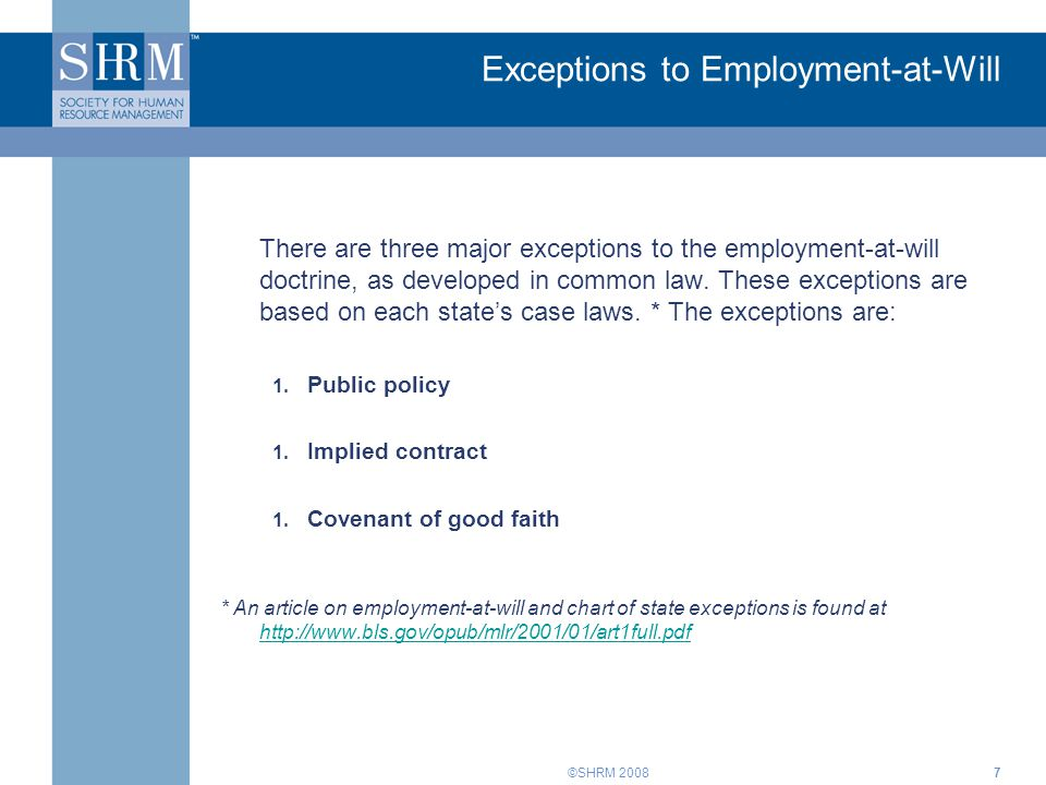 Exceptions to Employment-at-Will