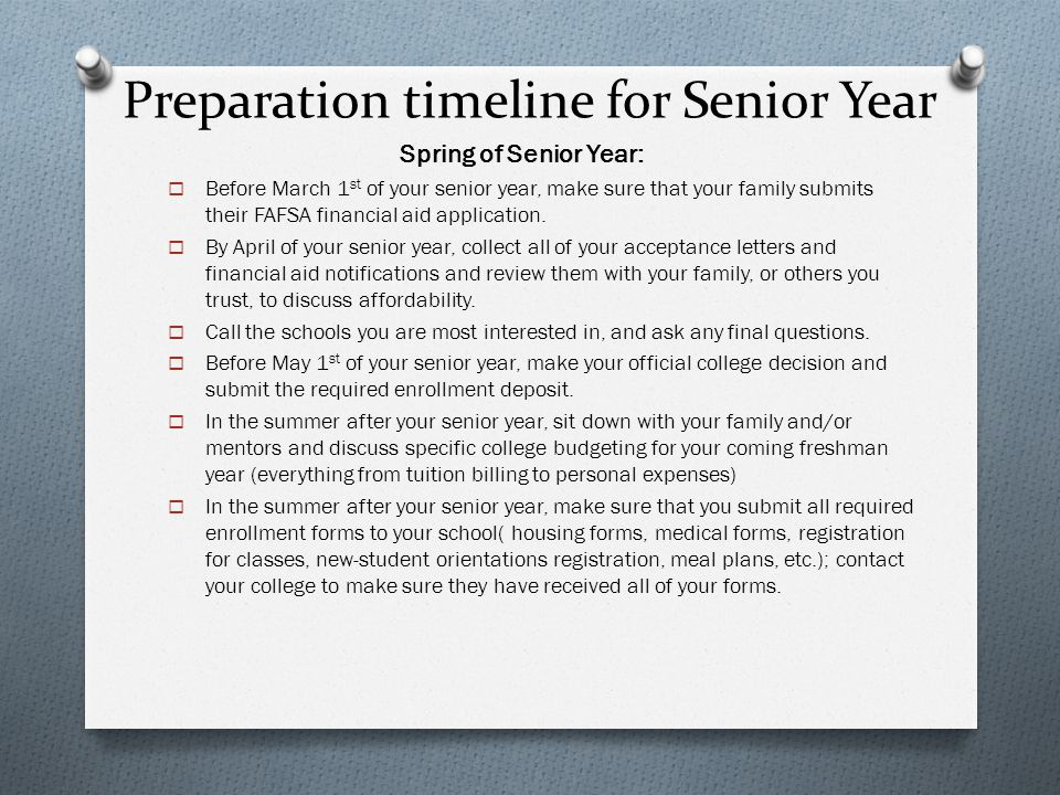 Preparation timeline for Senior Year