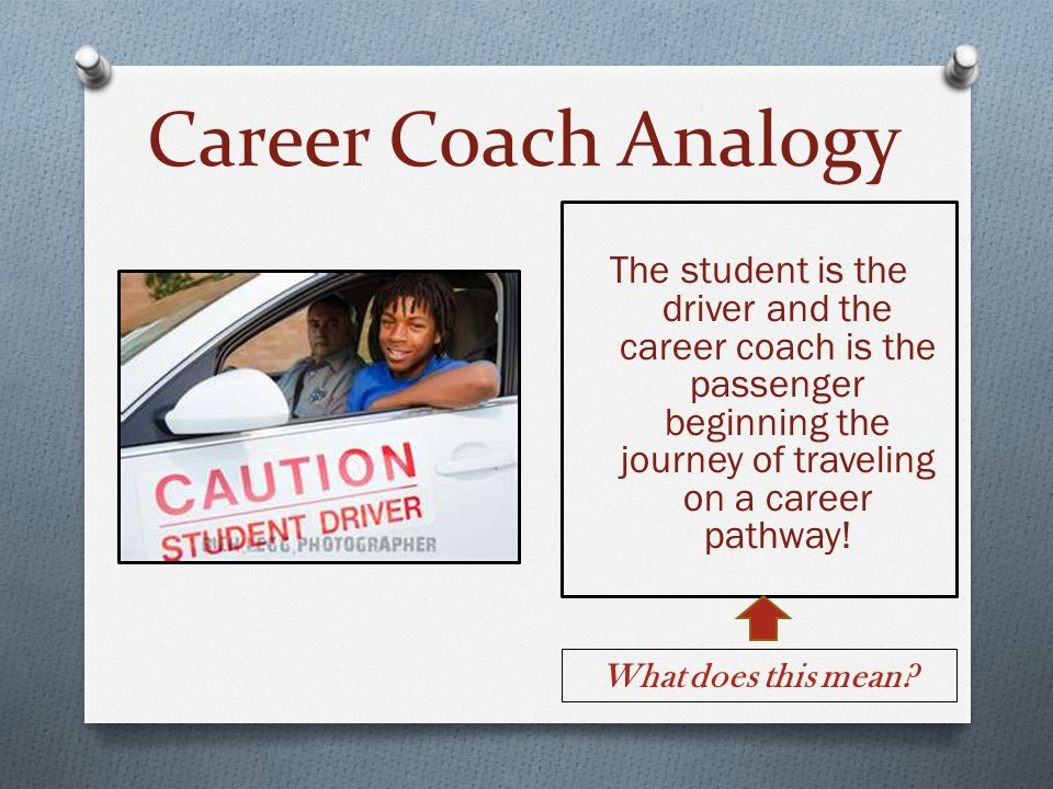 Career Coach Analogy The student is the driver and the career coach is the passenger beginning the journey of traveling on a career pathway!