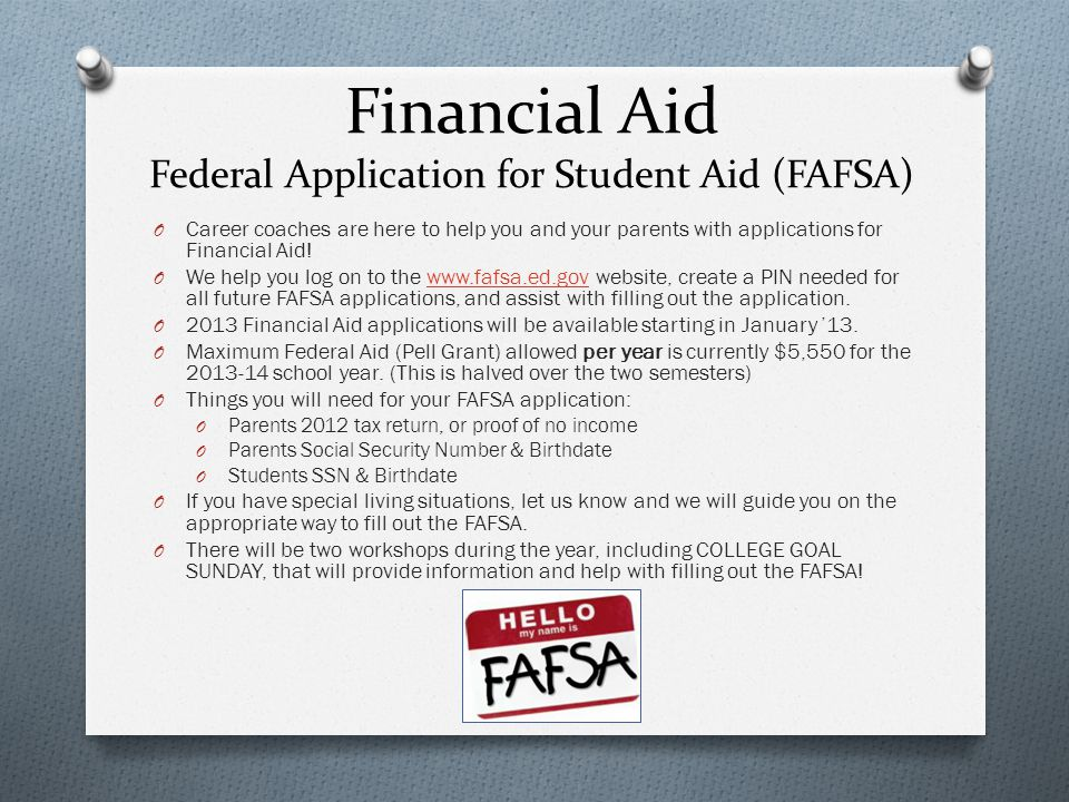 Financial Aid Federal Application for Student Aid (FAFSA)
