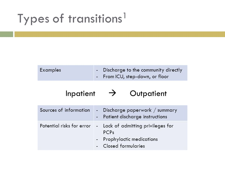 Types of transitions1 Inpatient  Outpatient Examples