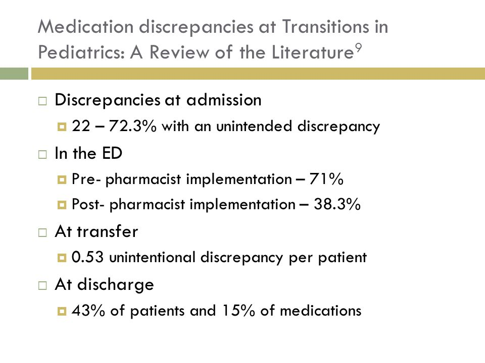 Medication discrepancies at Transitions in Pediatrics: A Review of the Literature9