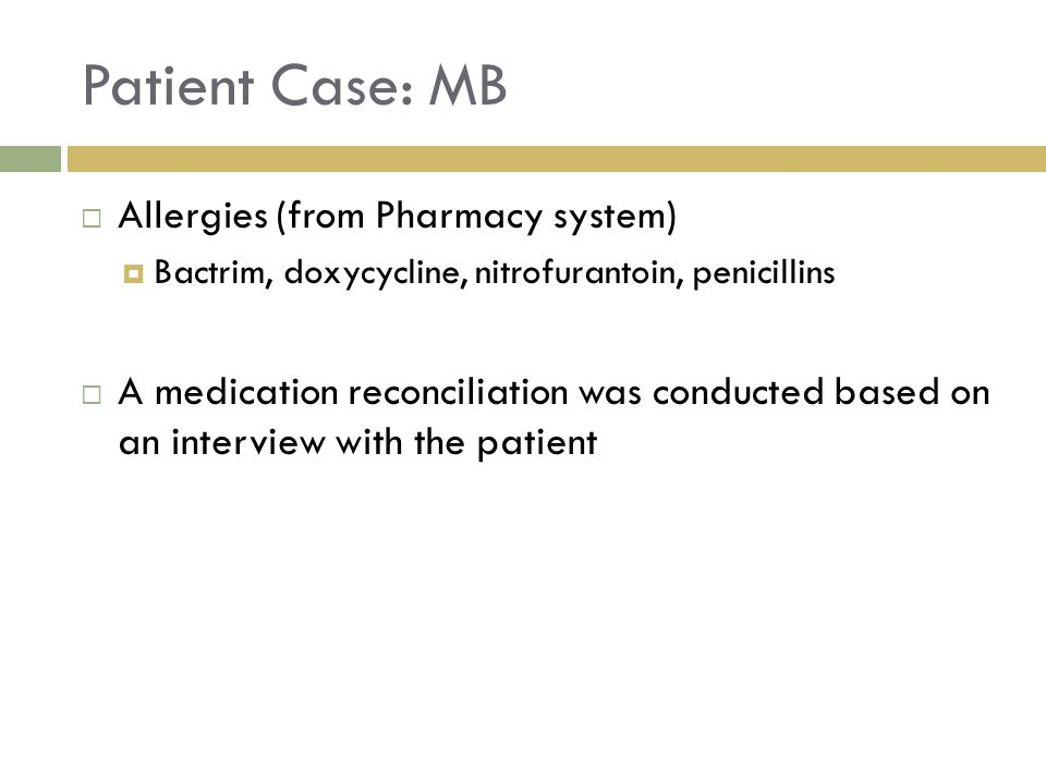 Patient Case: MB Allergies (from Pharmacy system)