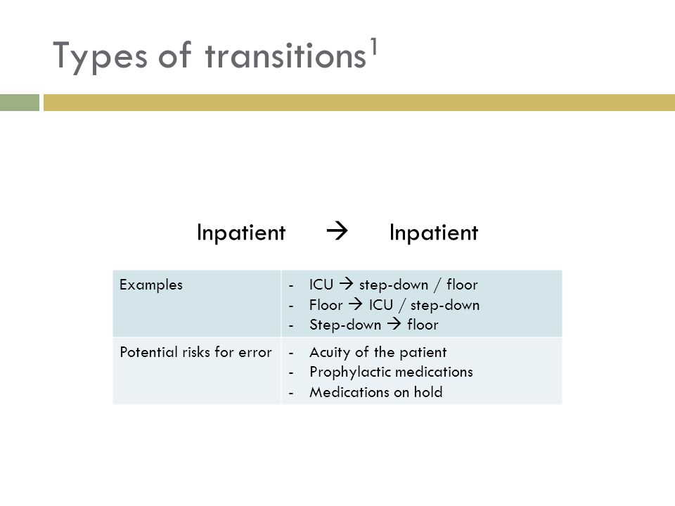 Types of transitions1 Inpatient  Examples ICU  step-down / floor