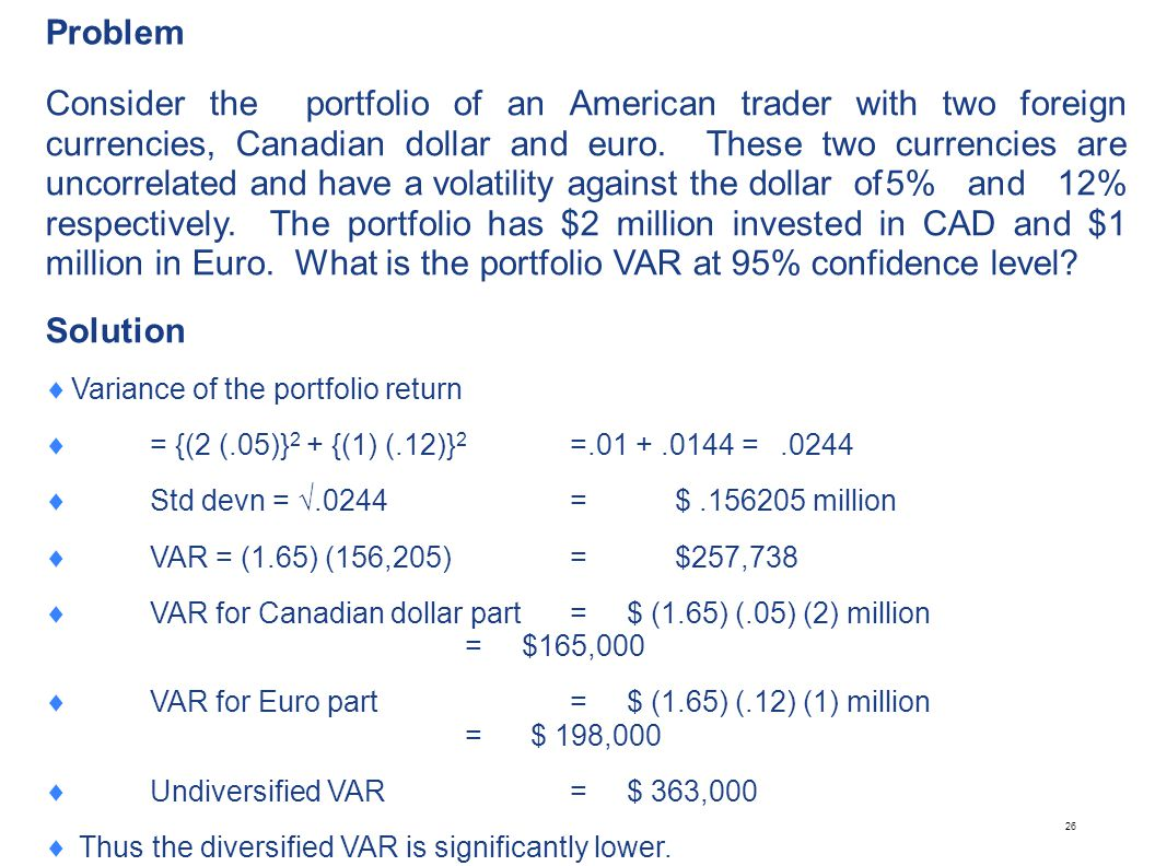 Problem Suppose we increase the Canadian dollar position by $10,000. What is the marginal VAR Solution.