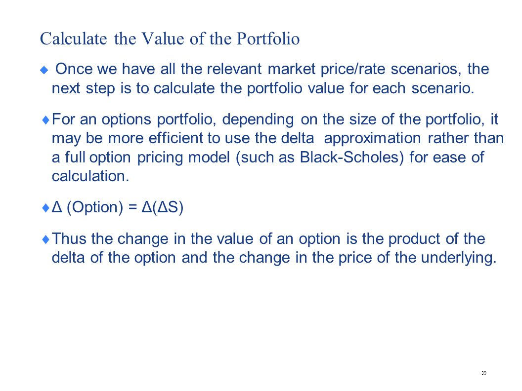 Other approximations There are also other approximations that use delta, gamma (Γ) and theta (Θ) in valuing the portfolio.