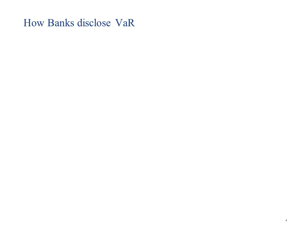 VaR at UBS Ref : Company Annual report