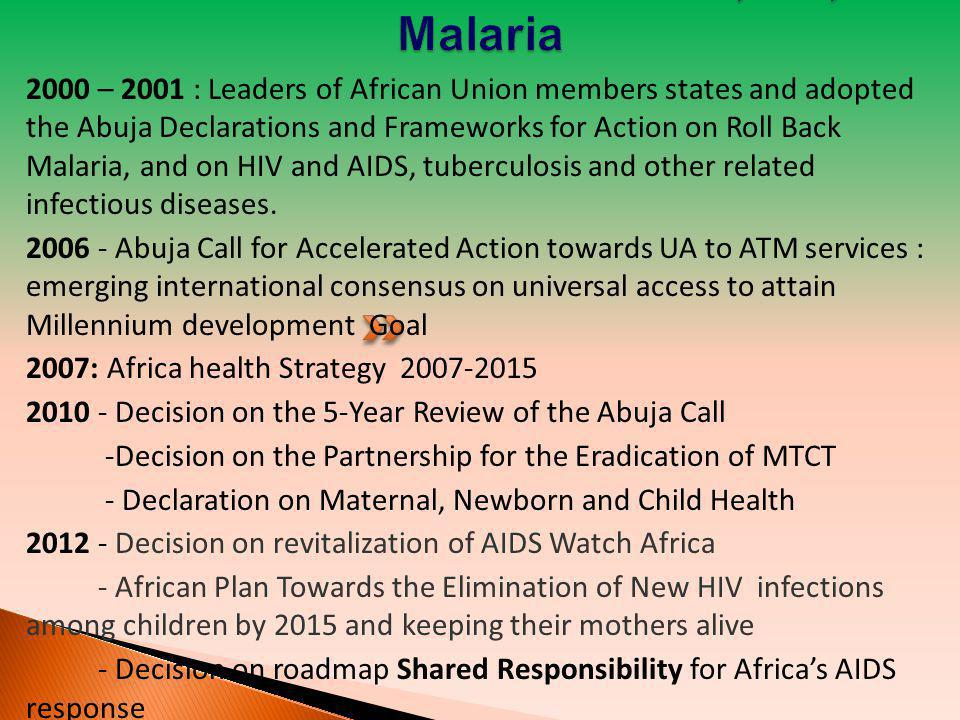 AU Commitments on AIDS, TB, Malaria