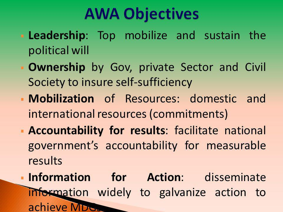 AWA Objectives Leadership: Top mobilize and sustain the political will