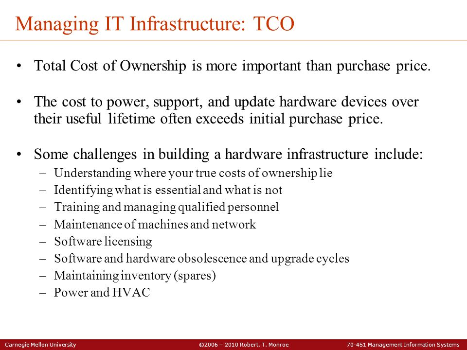 Managing IT Infrastructure: TCO