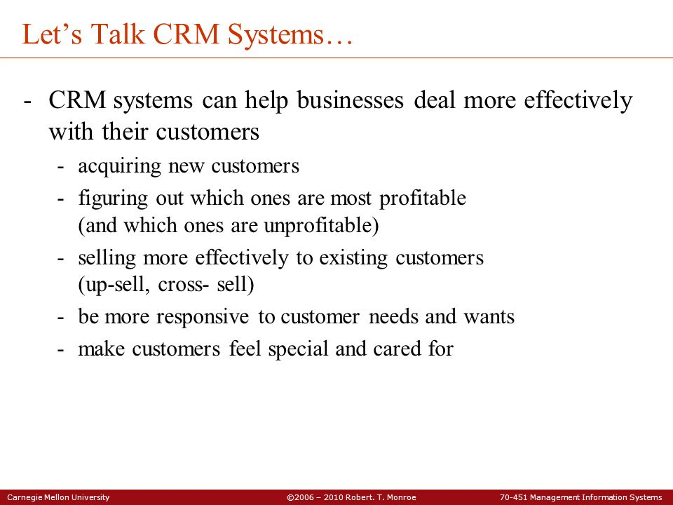 Let's Talk CRM Systems…