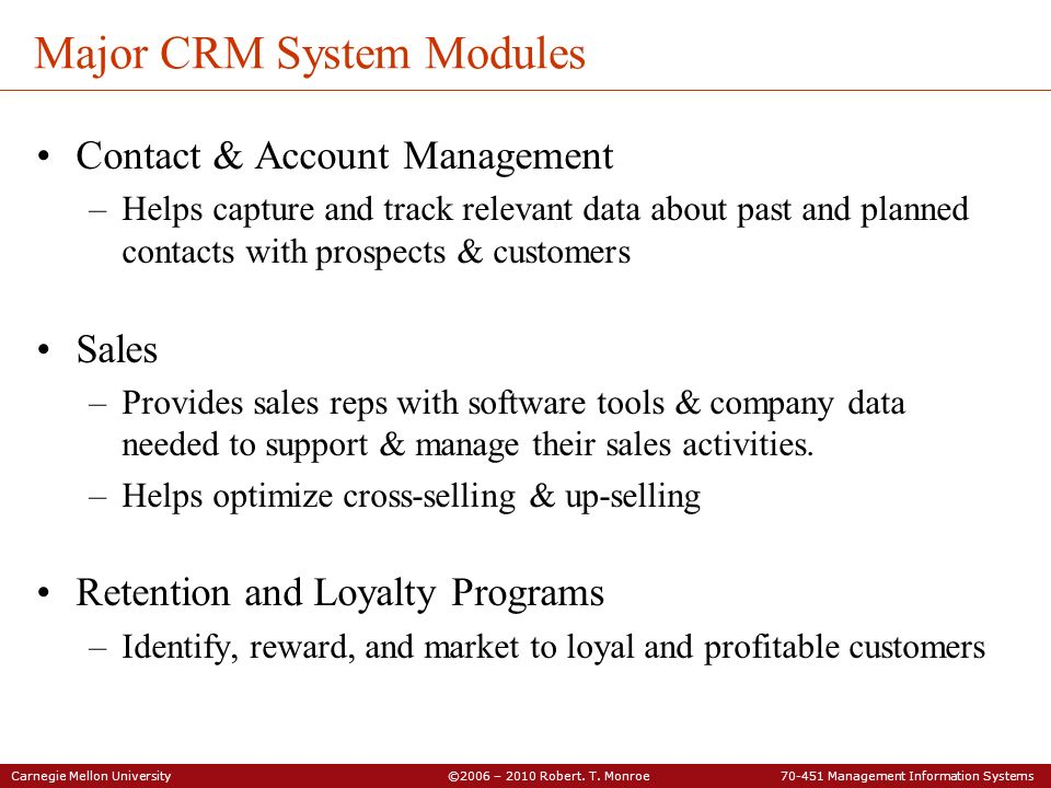 Major CRM System Modules