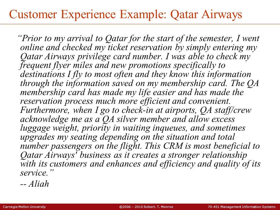 Customer Experience Example: Qatar Airways