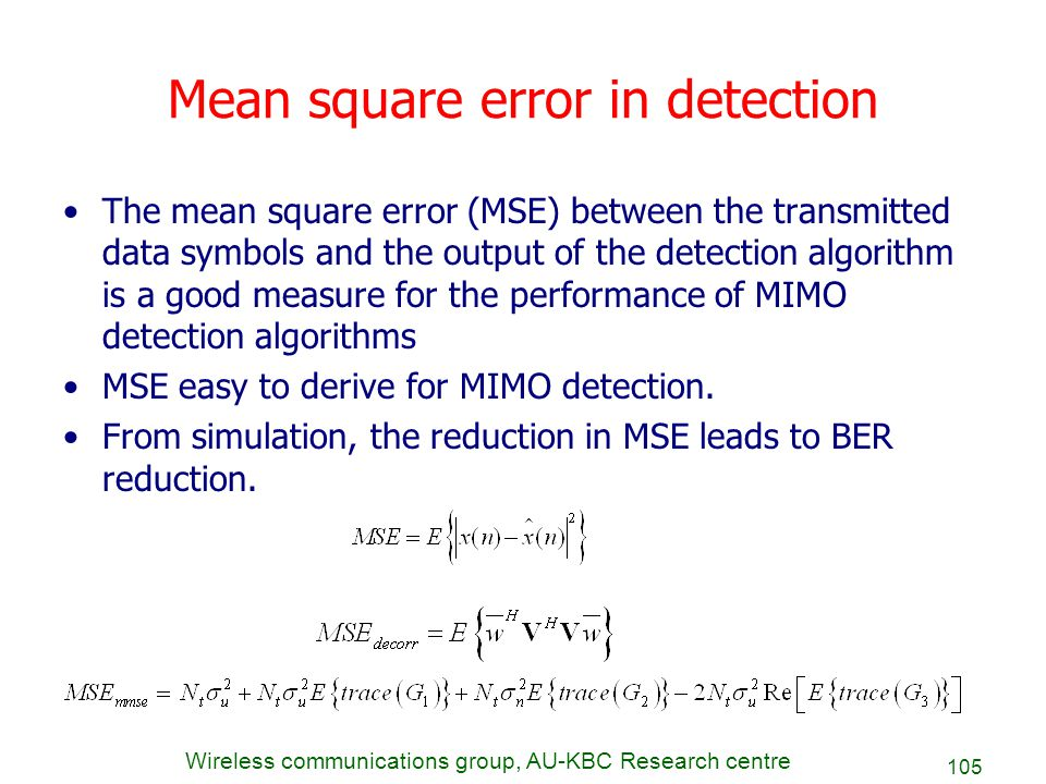 Mean square error in detection