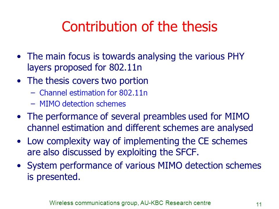 Contribution of the thesis
