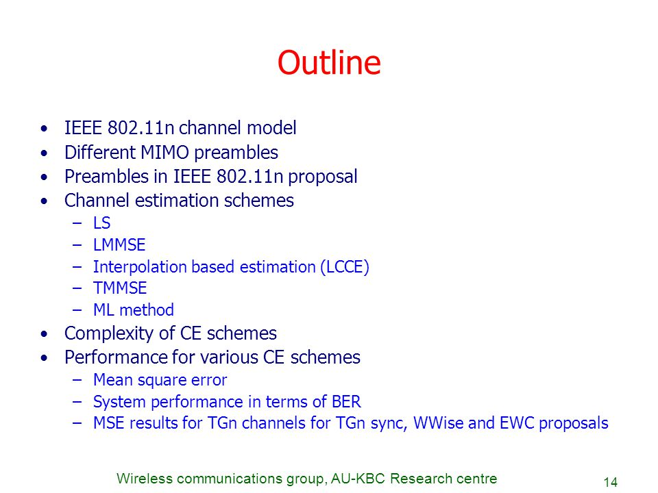 Outline IEEE 802.11n channel model Different MIMO preambles