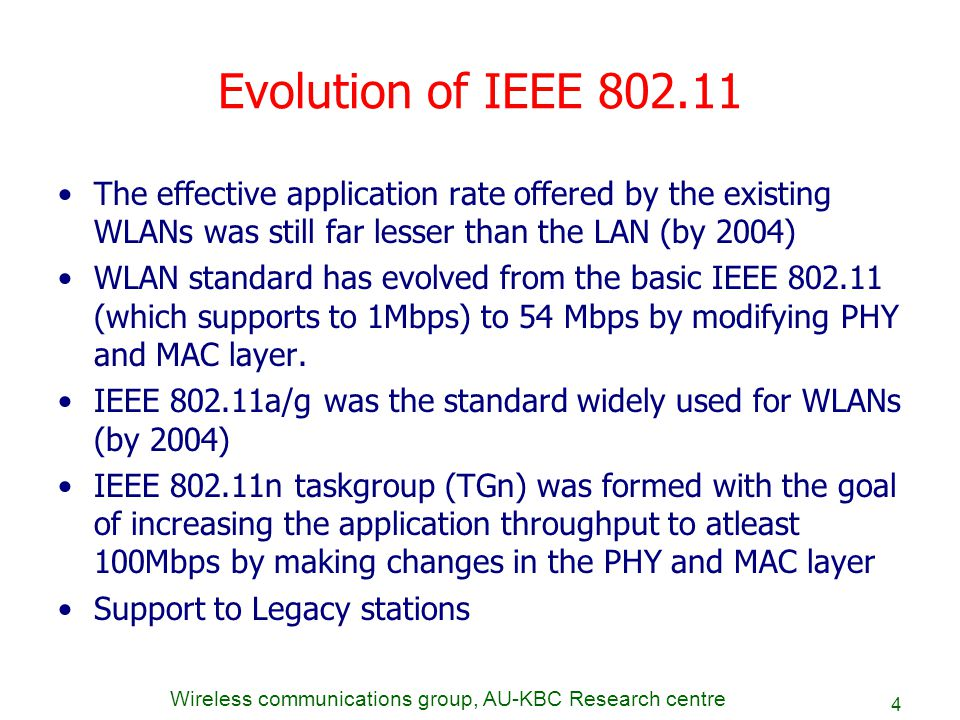Evolution of IEEE 802.11 The effective application rate offered by the existing WLANs was still far lesser than the LAN (by 2004)