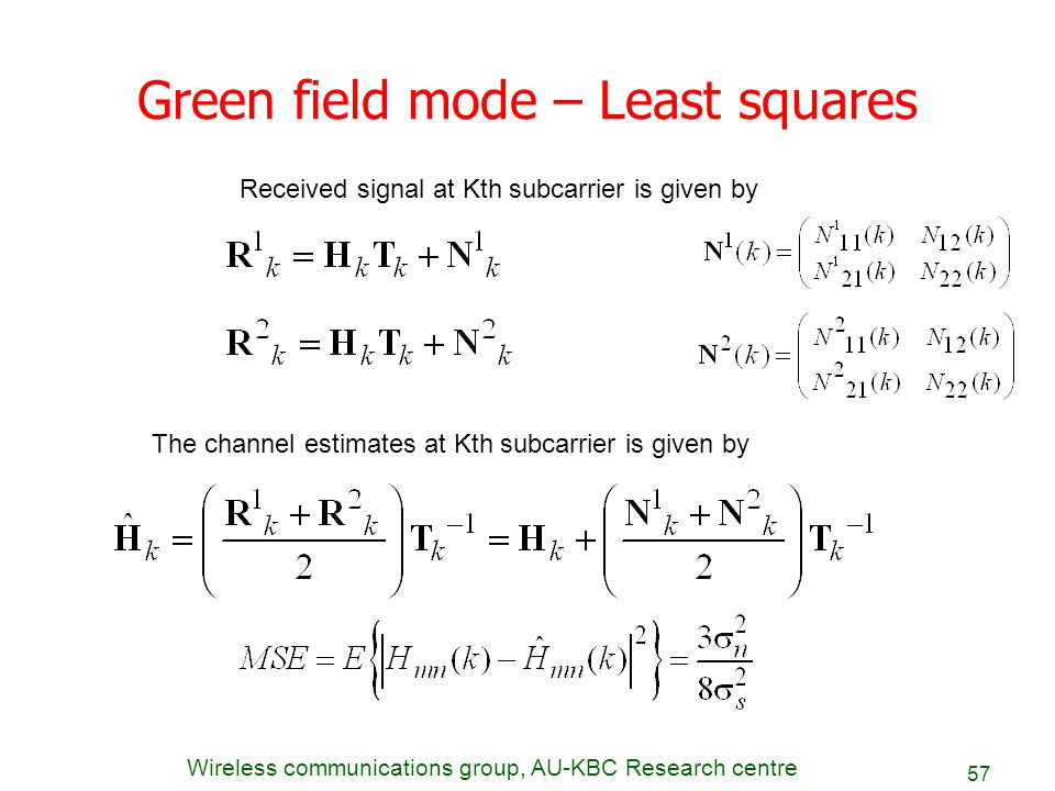 Green field mode – Least squares