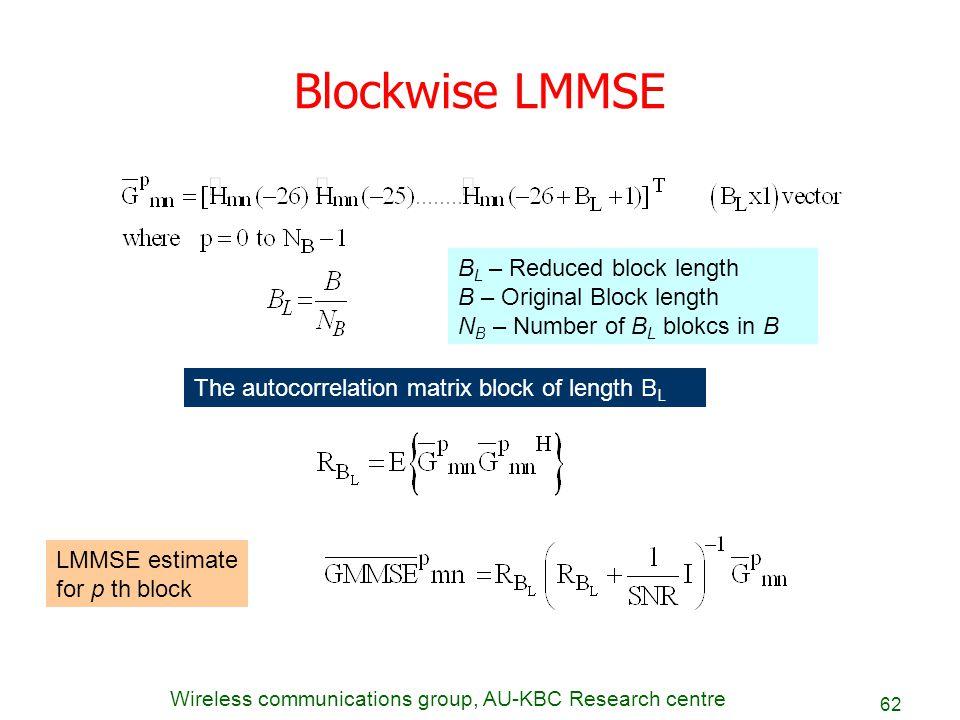 Blockwise LMMSE BL – Reduced block length B – Original Block length