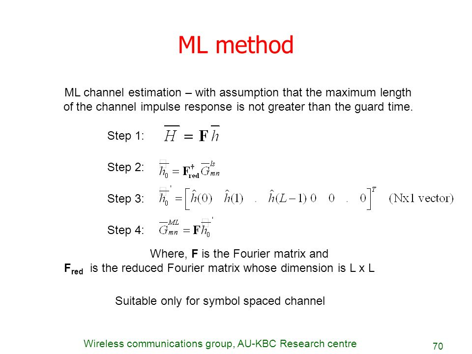 ML method ML channel estimation – with assumption that the maximum length. of the channel impulse response is not greater than the guard time.
