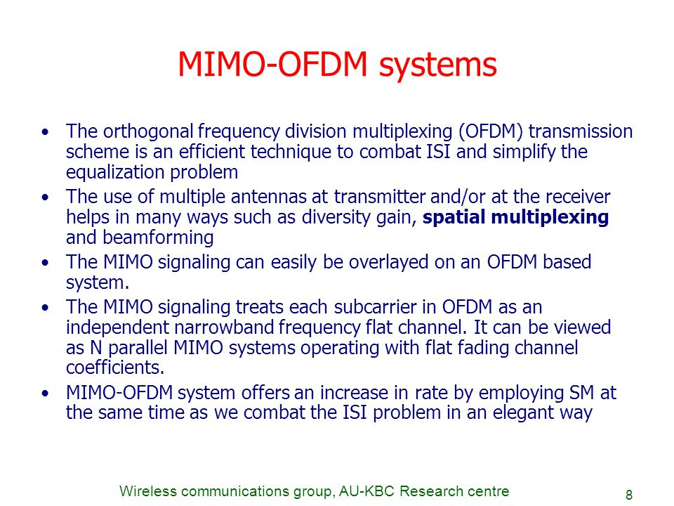 mimo ofdm thesis report Ofdm introduction ee225c introduction to ofdm  ofdm receiver design yun chiu, dejan markovic, haiyun tang, ning zhang ee225c final project report, 12 december 2000 9.