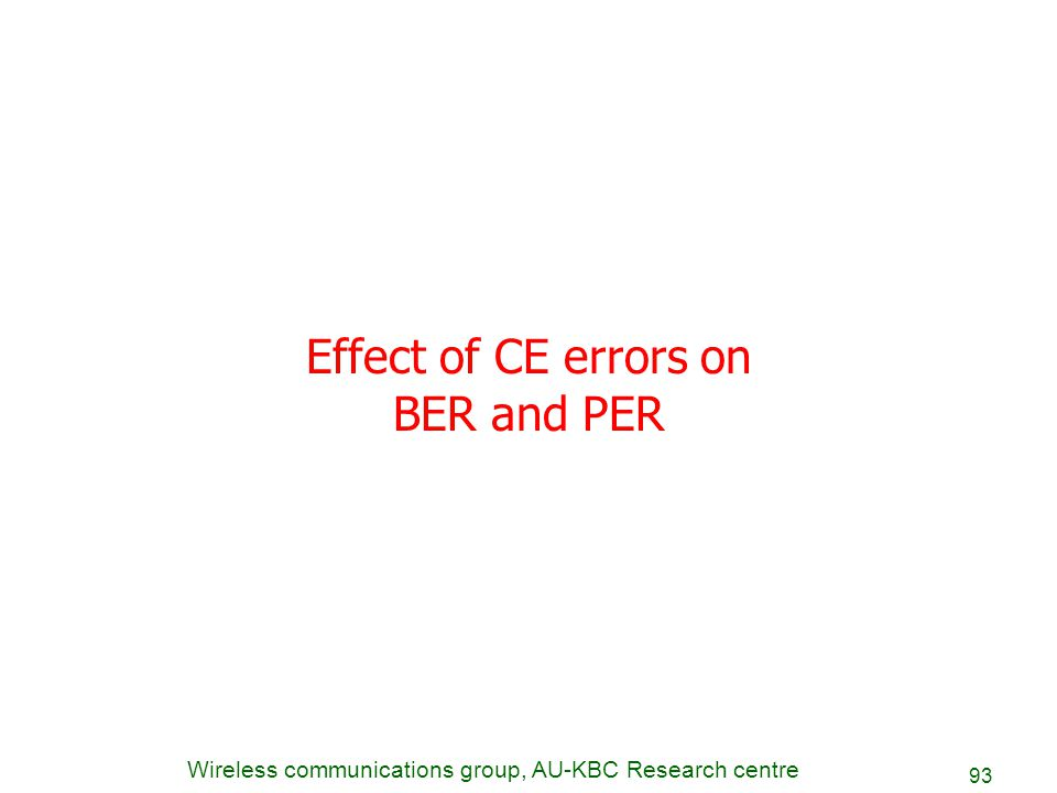Effect of CE errors on BER and PER