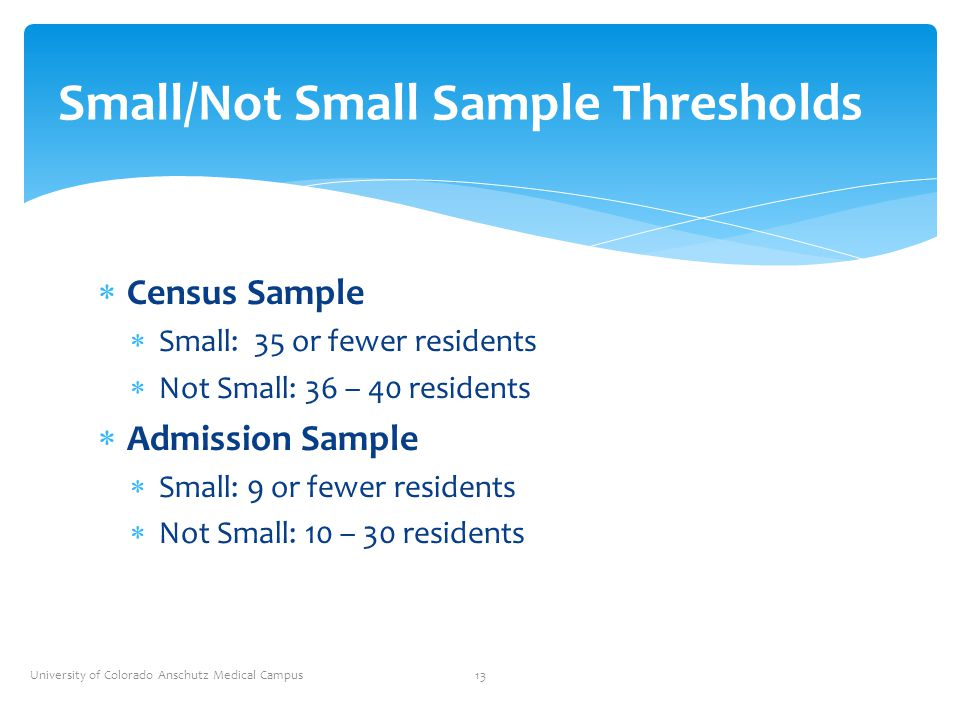 Small/Not Small Sample Thresholds