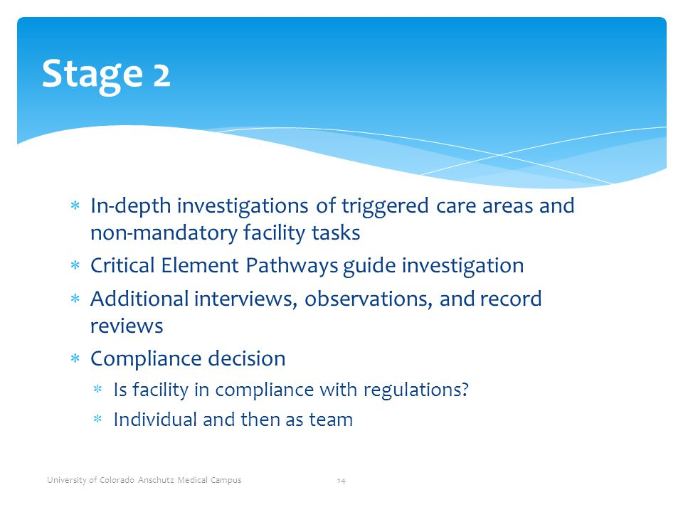 Stage 2 In-depth investigations of triggered care areas and non-mandatory facility tasks. Critical Element Pathways guide investigation.