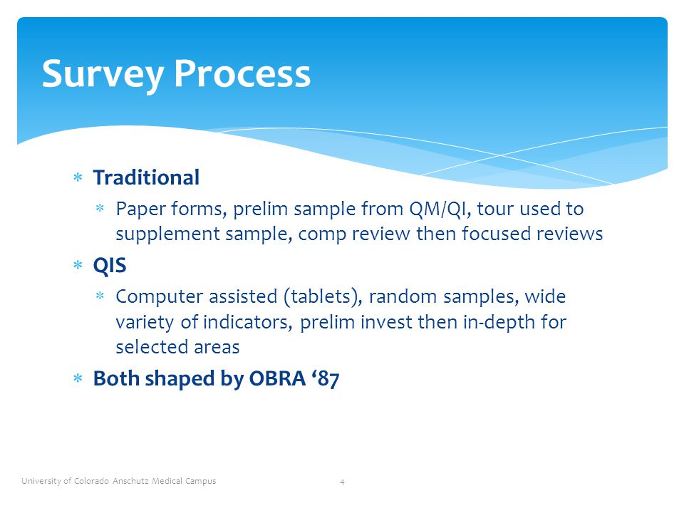 Survey Process Traditional QIS Both shaped by OBRA '87