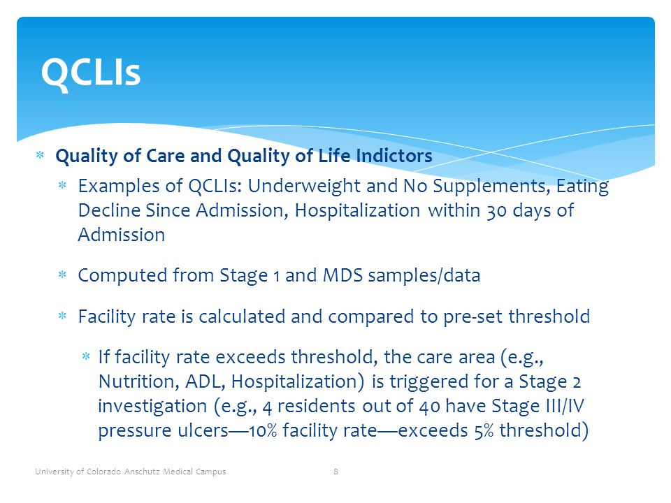 QCLIs Quality of Care and Quality of Life Indictors