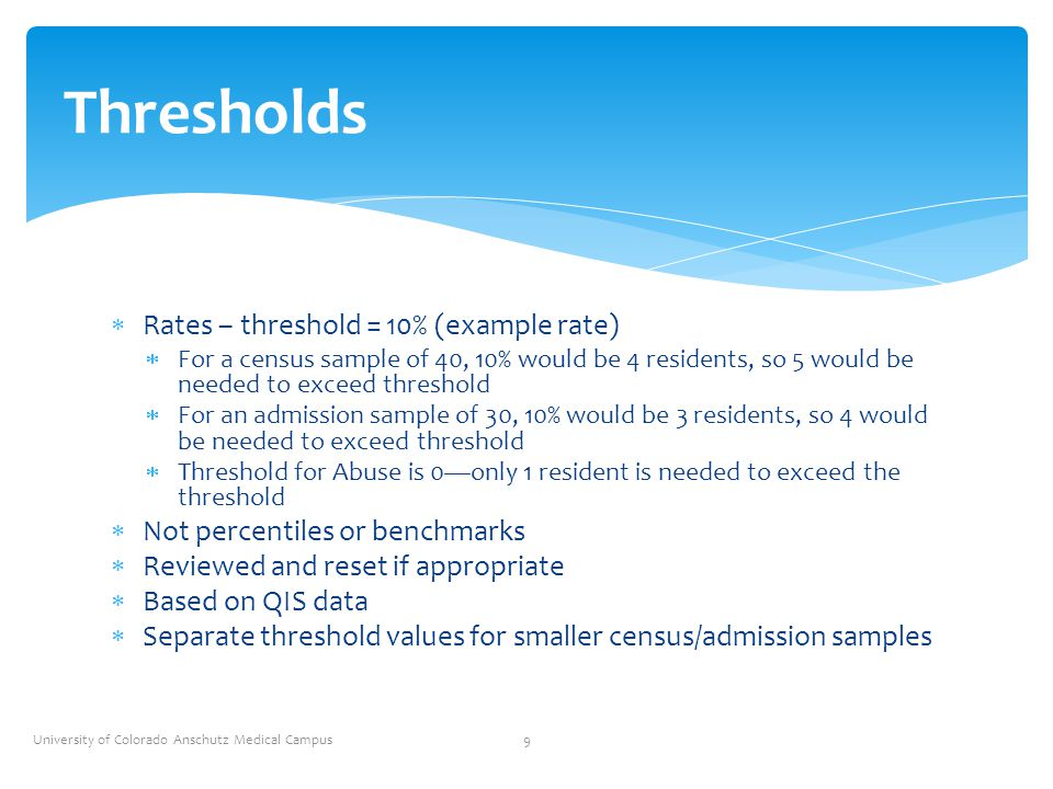 Thresholds Rates – threshold = 10% (example rate)