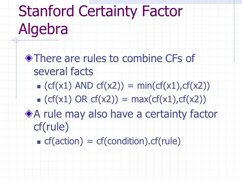 Stanford Certainty Factor Algebra