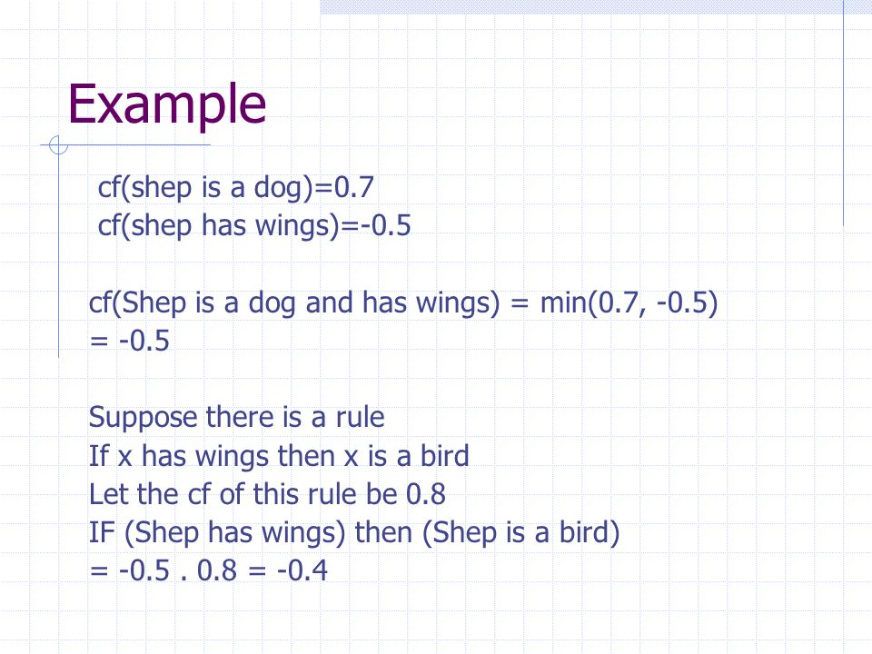 Example cf(shep is a dog)=0.7 cf(shep has wings)=-0.5
