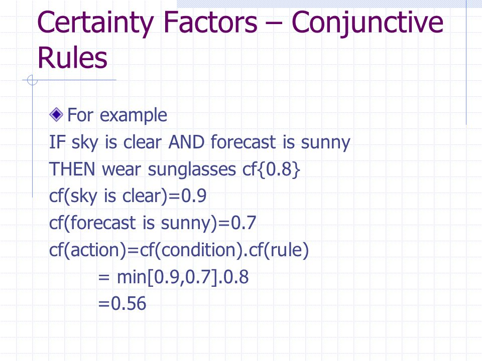 Certainty Factors – Conjunctive Rules