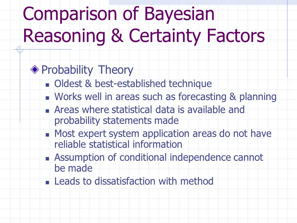 Comparison of Bayesian Reasoning & Certainty Factors