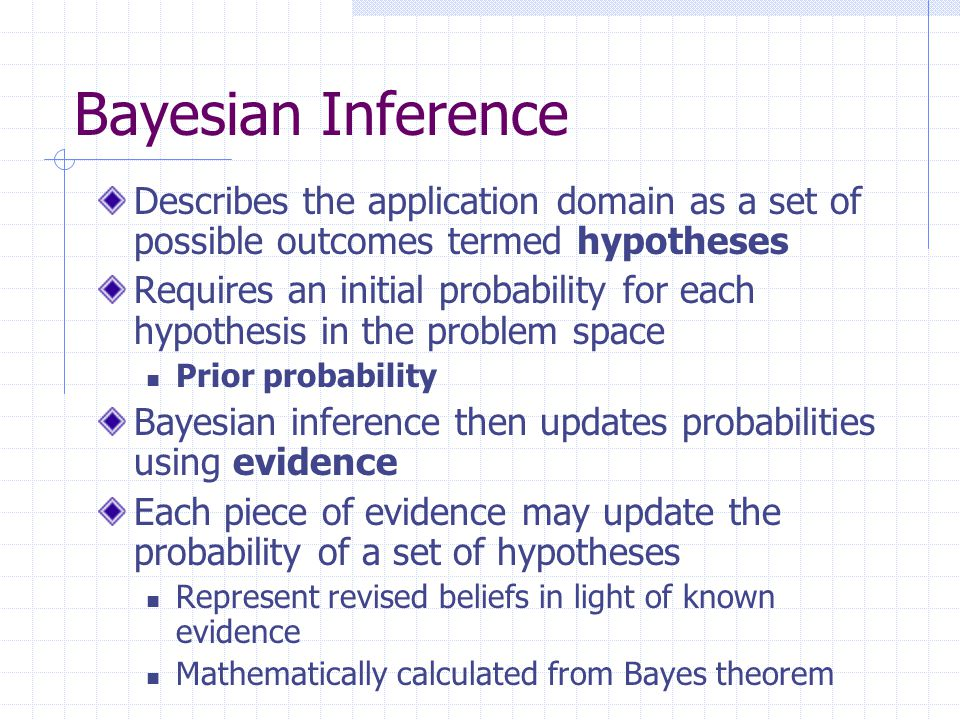 Bayesian Inference Describes the application domain as a set of possible outcomes termed hypotheses.