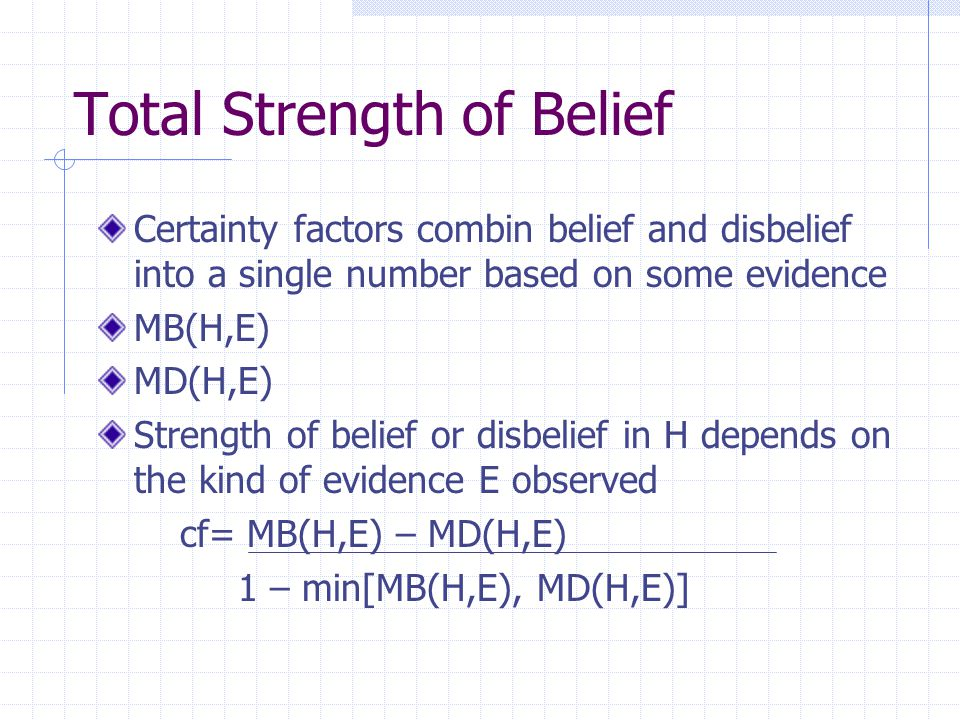 Total Strength of Belief