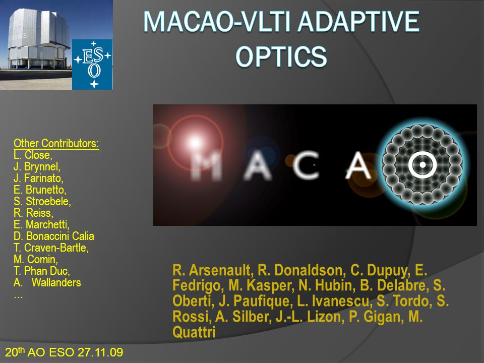 MACAO-VLTI Adaptive Optics