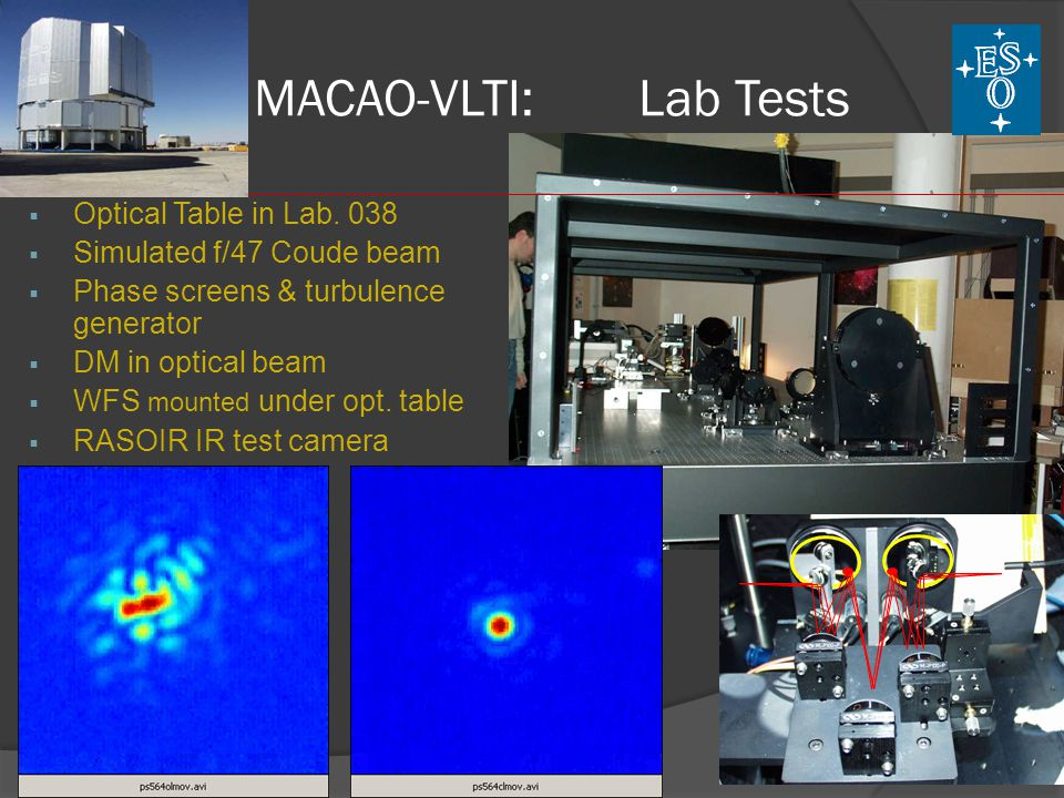MACAO-VLTI: Lab Tests Optical Table in Lab. 038
