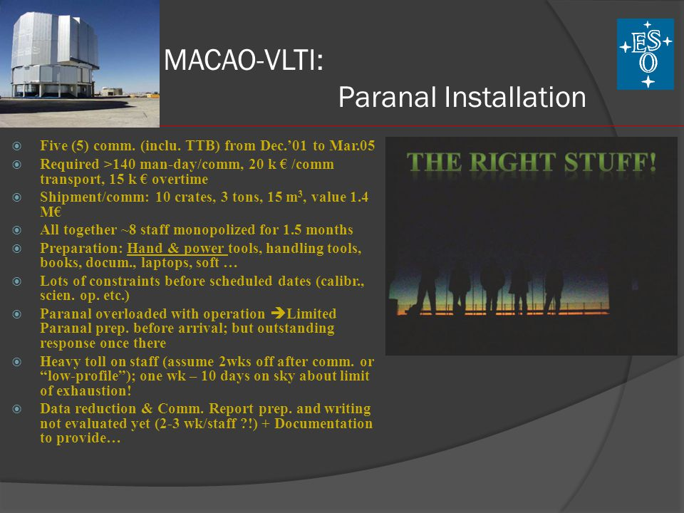 MACAO-VLTI: Paranal Installation