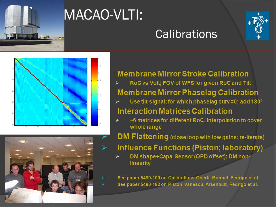 MACAO-VLTI: Calibrations