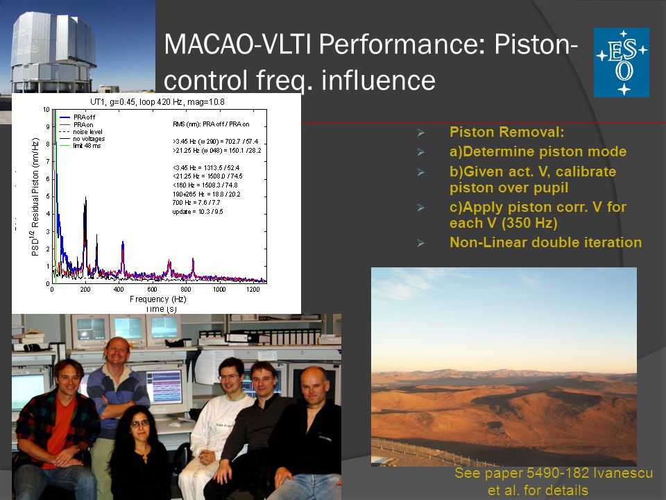 MACAO-VLTI Performance: Piston-control freq. influence