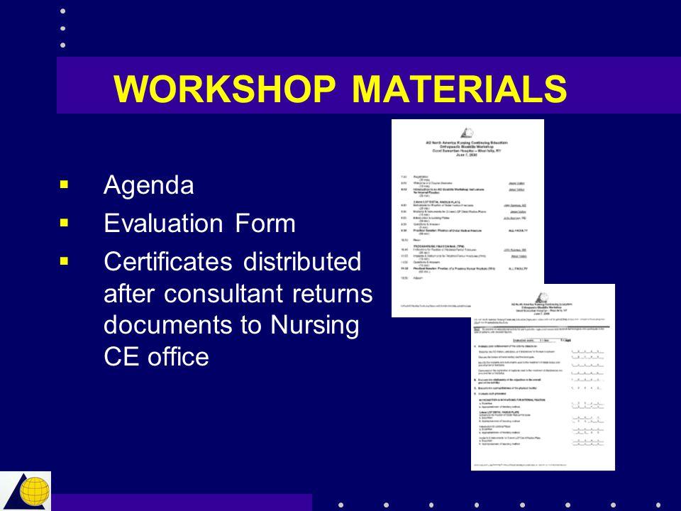 WORKSHOP MATERIALS Agenda Evaluation Form