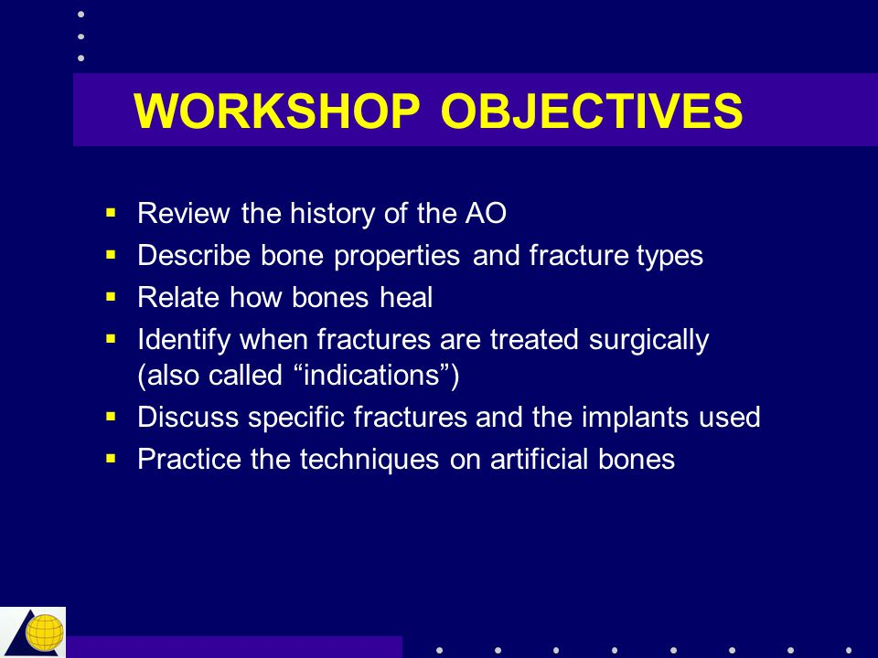 WORKSHOP OBJECTIVES Review the history of the AO