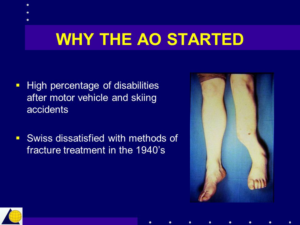 WHY THE AO STARTED High percentage of disabilities after motor vehicle and skiing accidents.