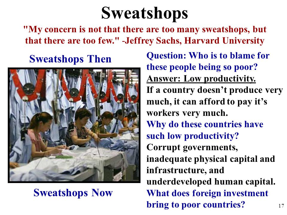 Sweatshops Sweatshops Then Sweatshops Now