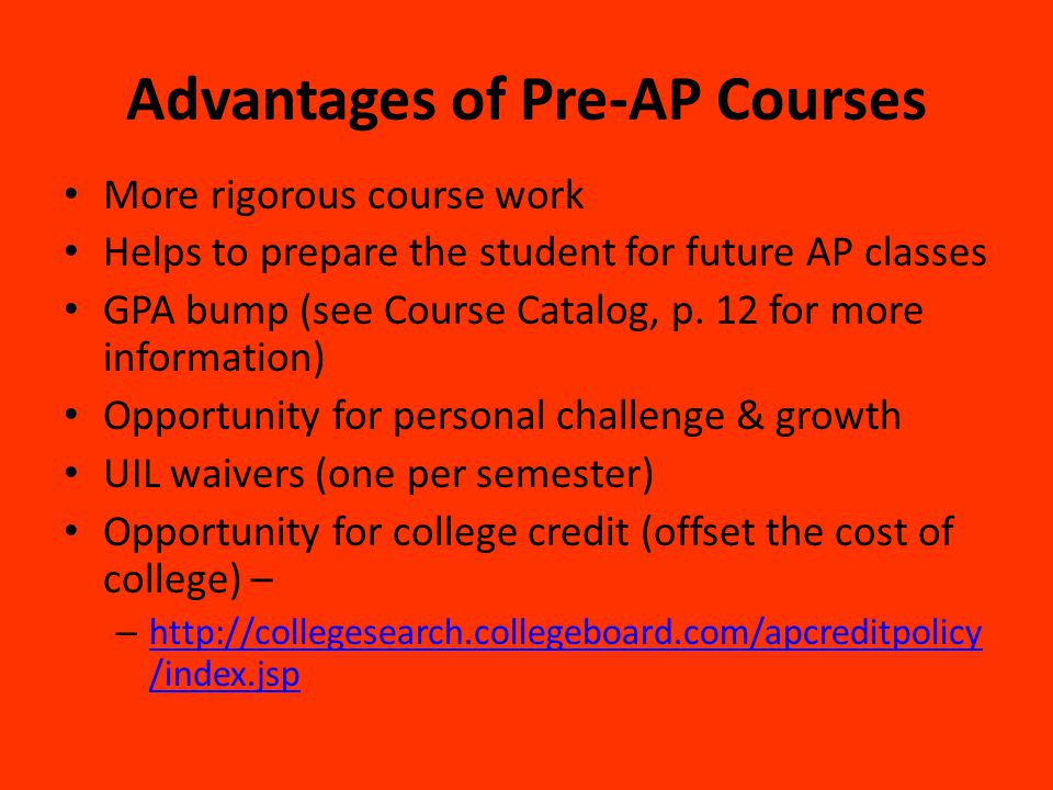 Advantages of Pre-AP Courses