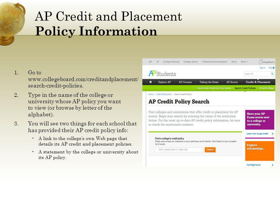 AP Credit and Placement Policy Information