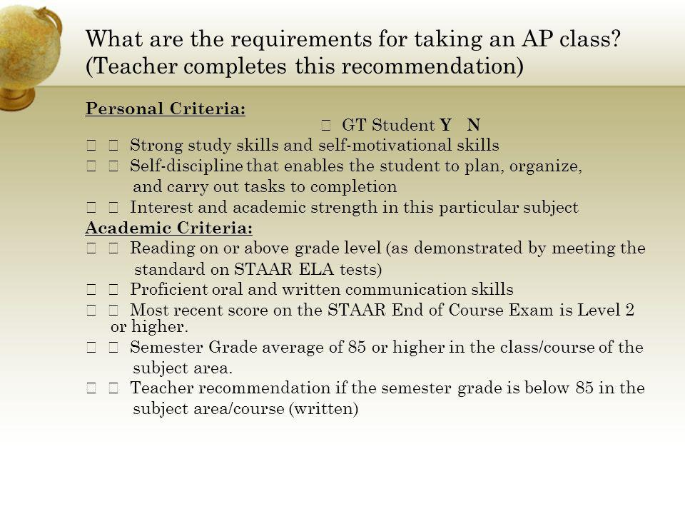 What are the requirements for taking an AP class